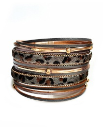 Fashion Gray Pu Leather Leopard Alloy Magnetic Buckle Multi-layer Bracelet