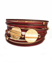Fashion Red Pu Wide Leather Magnet Buckle Alloy Multi-layer Bracelet