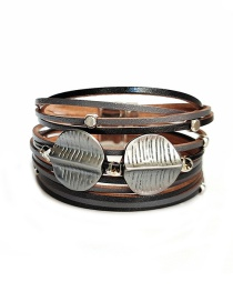 Fashion Silver Pu Wide Leather Magnet Buckle Alloy Multi-layer Bracelet
