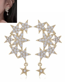 Fashion Yellow Star-studded Alloy Pierced Earrings
