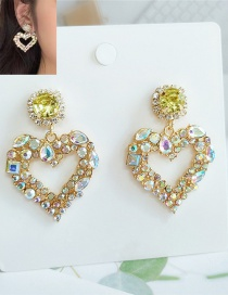 Fashion Yellow Alloy Diamond Love Hollow Earrings