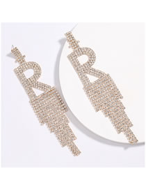 Fashion Golden Alphabet Claw Chain Alloy Diamond Long Fringe Earrings