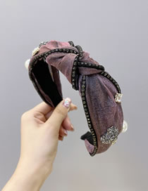 Fashion Pink Pearl Rhinestone Mesh Knotted Wide-brimmed Hair Band