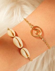 Fashion White Natural Shell Sea Wave Alloy Hollow Multi-layer Bracelet