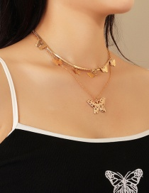 Fashion Golden Hollow Butterfly Alloy Multi-layer Necklace