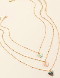 Fashion Color Mixing Acrylic Abalone Shell Butterfly Multilayer Necklace