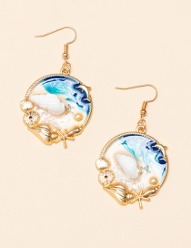 Fashion Blue Earrings Starfish Shell Oil Drop Pearl Alloy Earring Necklace