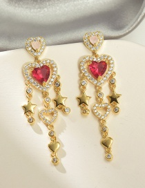 Fashion Red Copper-set Zircon Love Five-pointed Star Hollow Earrings