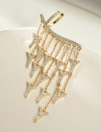 Fashion Golden Micro-inlayed Zircon Dragontail V-shaped Tassel Ear Clip