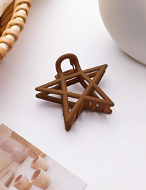 Fashion Brown (star Style) Frosted Doudou Five-pointed Star Resin Hollow Geometric Grip