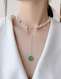 Fashion Green Natural Freshwater Pearl 14k True Gold Plated Emerald Necklace