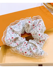 Fashion White Small Floral Print Lace Large Intestine Loop Hair Rope