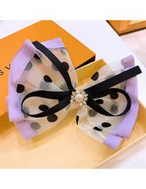 Fashion Purple Polka Dot Organza Colorblock Rhinestone Bow Hairpin