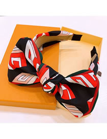 Fashion Red Black Colorblock Note Letters Contrast Color Stripes Big Ear Hairband