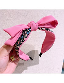 Fashion Rose Red Floral Print Double Bow Headband