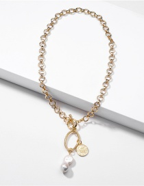 Fashion Golden Natural Baroque Pearl Coin Chain Alloy Necklace