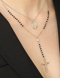 Fashion Golden Crystal Chain Y-shaped Tassel Cross Pearl Alloy Necklace