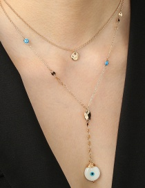 Fashion Golden Alloy Pearl Oil Drop Eye Double Necklace