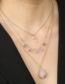 Fashion Pink Letter Imitating Natural Stone Drop Alloy Multilayer Necklace