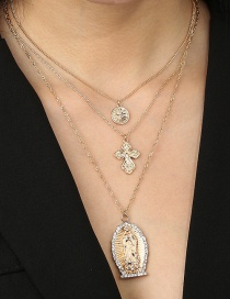Fashion Golden Cross Disc Alloy Multi-layer Necklace With Diamonds