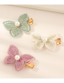 Fashion Color Mixing Hand-embroidered Bow Pearl Duckbill Hair Clip