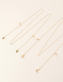 Fashion 2 Sets Of Gold Bee Butterfly Butterfly Diamond Drop Alloy Pendant Eye Chain Set