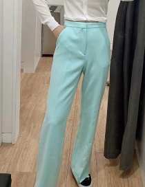 Fashion Lake Green Solid Color Flared Trousers