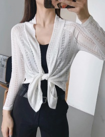 Fashion White Knitted Embroidery Cardigan