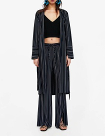 Fashion Color Striped Belted Bow Trench Coat