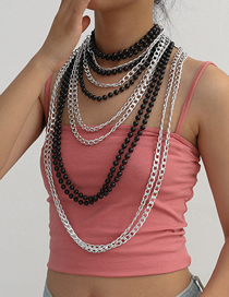 Fashion White K Chain Beaded Handmade Round Bead Multilayer Necklace