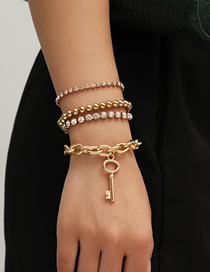 Fashion Golden Claw Chain Drill Handmade Key Round Bead Alloy Bracelet Set