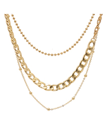 Fashion Golden Alloy Bead Chain Multi-layer Necklace