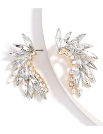 Fashion White Curved Alloy Pierced Earrings With Diamonds