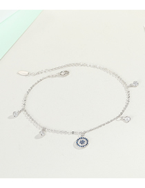 Fashion Silver Geometric Gold-plated Tassel Diamond Round Anklet