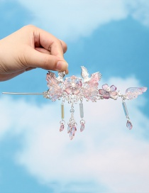 Fashion Pink Glass Flower Flying Crane Tassel Pearl Alloy Hairpin