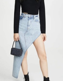 Fashion Blue Irregular Denim High-waist Skirt