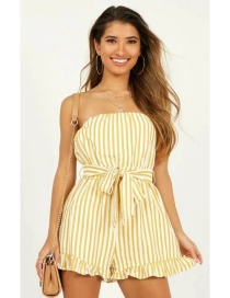 Fashion Yellow Bandeau Stripe Printed Belted Jumpsuit