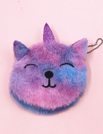 Fashion Squinting Unicorn Cat Embroidery Children Plush Coin Purse