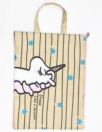 Fashion Beige Unicorn Canvas Unicorn Printed Waterproof Tote Bag