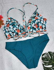 Fashion Blue Flower Printed Contrast Color Tether Split Swimsuit