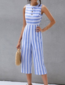 Fashion White Blue Striped Sleeveless Single-breasted Jumpsuit