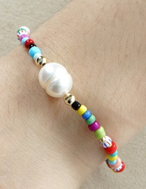 Fashion Color Mixing Natural Freshwater Pearl Hand-woven Rice Bead Bracelet
