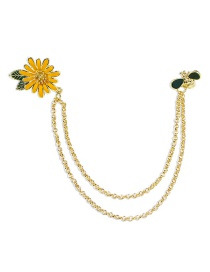 Fashion Golden Dripping Flower Bee Alloy Chain Brooch