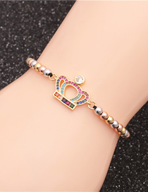 Fashion Crown Color Mixing Color Bead Chain Micro-set Zircon Crown Life Tree Braided Bracelet