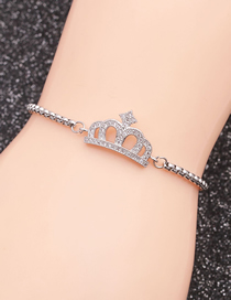 Fashion Crown 1 Stainless Steel Chain Crown With Diamond Hollow Adjustable Bracelet