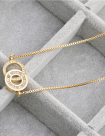 Fashion Golden 1 Micro-set Zircon Double Ring Hanging Necklace