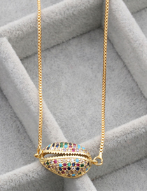 Fashion Gold Color Zirconium Shell Copper Micro-set Zircon Shell Hanging Necklace