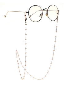 Fashion Khaki Hand Mixed Color Coffee Crystal Chain Glasses Chain