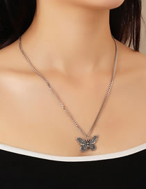 Fashion Silver Old Thai Silver Butterfly Necklace