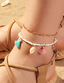 Fashion Color Mixing Fringed Shell Rice Beads Braided Alloy Multi-layer Anklet
